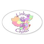 Linhai China Map Oval Sticker (10 pk)