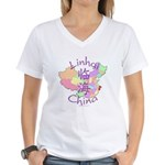 Linhai China Map Women's V-Neck T-Shirt