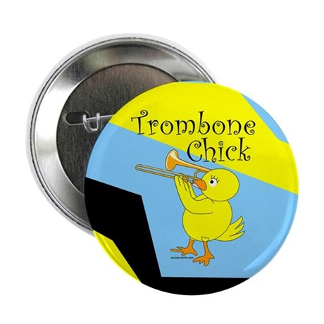 "Trombonist Chick Text 2.25"" Button (100 pack)"