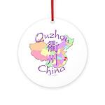 Quzhou China Map Ornament (Round)