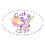 Quzhou China Map Oval Sticker (10 pk)
