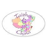 Taizhou China Map Oval Sticker (10 pk)