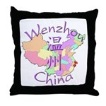 Wenzhou China Map Throw Pillow