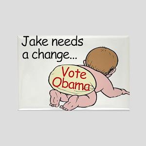 Jake Needs Change - Vote Obam Rectangle Magnet