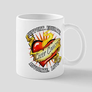 Liver Cancer Heart Tattoo Mug
