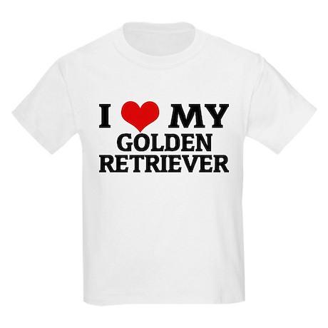 I Love My Golden Retriever Kids T-Shirt