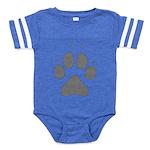 Wolf Paw Print Baby Football Bodysuit