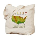 Autumn Fall Foliage Map Reusable Canvas Tote Bag