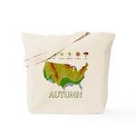 Autumn Fall Foliage Map Reusable Canvas Tote Bag