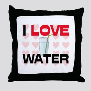 I Love Water Throw Pillow
