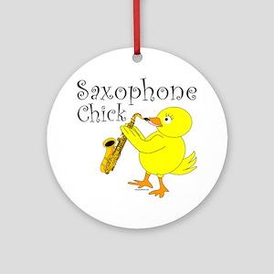 Saxophone Chick Ornament (Round)