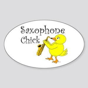 Saxophone Chick Oval Sticker
