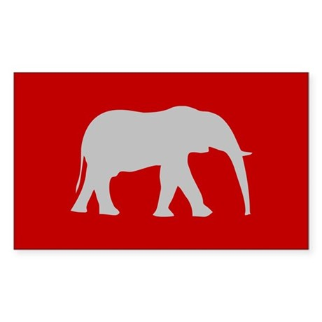 Red/Grey Elephant Logo Rectangle Sticker
