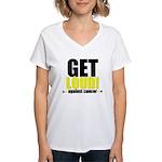 GetLoudAgainstCancer Women's V-Neck T-Shirt