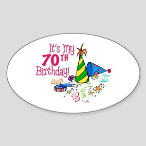 It's My 70th Birthday (Party Hats) Oval Sticker