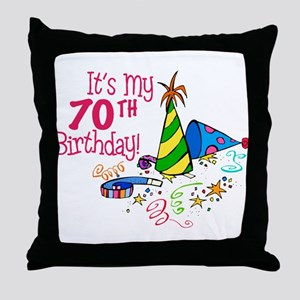 It's My 70th Birthday (Party Hats) Throw Pillow