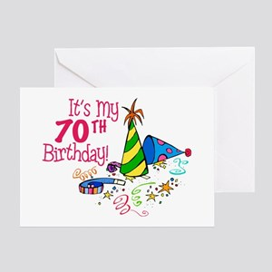 Its My 70th Birthday Party Hats Greeting Card