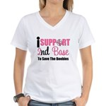 BreastCancer2ndBase Women's V-Neck T-Shirt