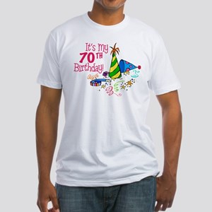 It's My 70th Birthday (Party Hats) Fitted T-Shirt