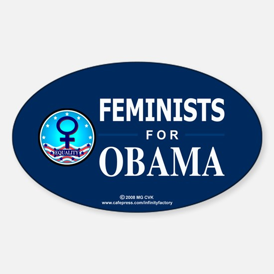 Feminists for Obama Oval Decal