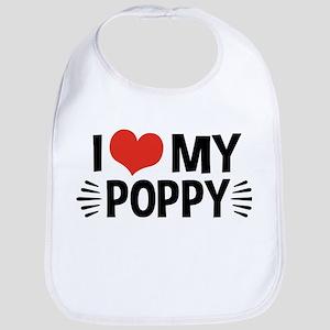 I Love My Poppy Cotton Baby Bib