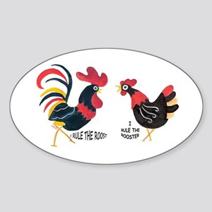 ROOSTER RULES HEN RULES Oval Sticker