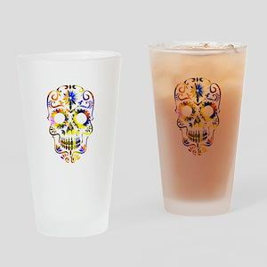 Colorful Sugar Skull Drinking Glass