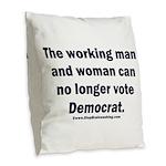 No more Democrat Burlap Throw Pillow