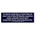 Muslim Travel Ban LIE Sticker (Bumper)