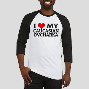 I Love My Caucasian Ovcharka Baseball Jersey