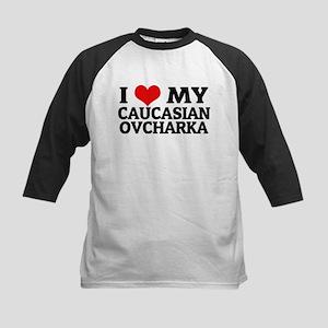 I Love My Caucasian Ovcharka Kids Baseball Jersey