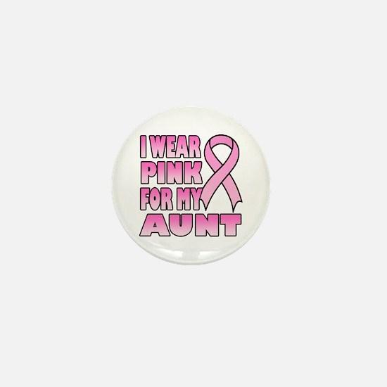 Aunt Pink Ribbon Mini Button