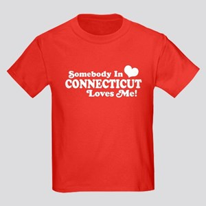 Somebody in Connecticut Loves Me Kids Dark T-Shirt