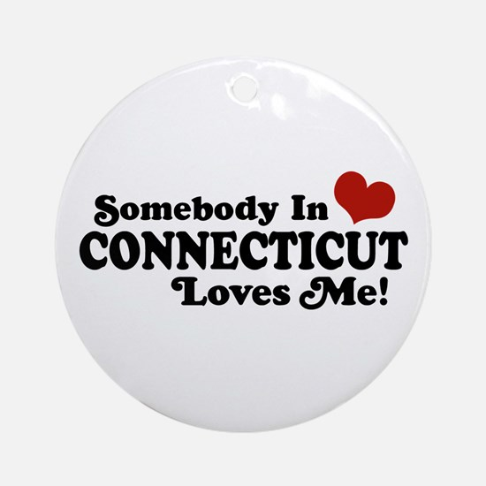 Somebody in Connecticut Loves Me Ornament (Round)
