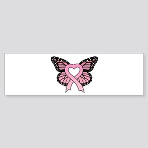 Pink Ribbon Butterfly Bumper Sticker