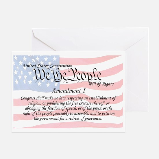 Amendment I and Flag Greeting Card