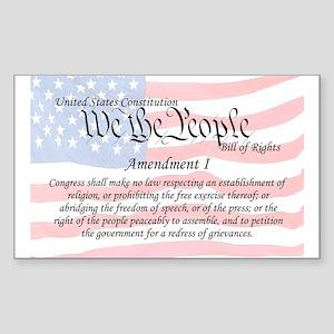 Amendment I and Flag Rectangle Sticker