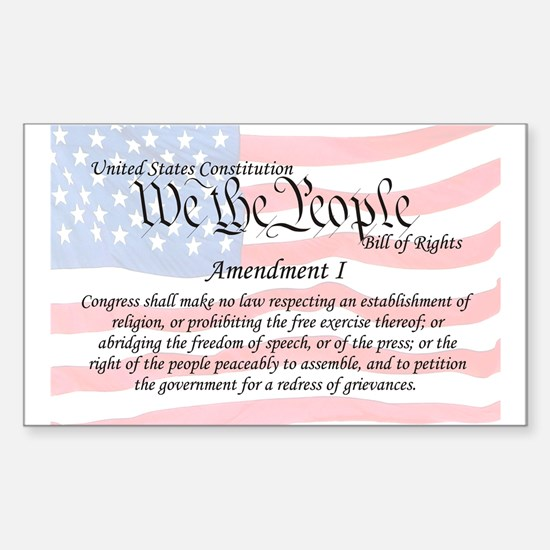Amendment I and Flag Rectangle Decal