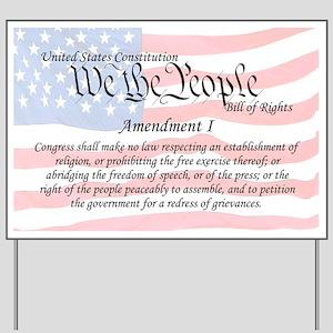 Amendment I and Flag Yard Sign