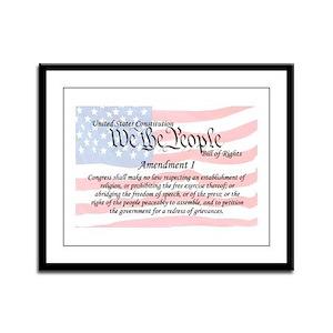 Amendment I and Flag Framed Panel Print