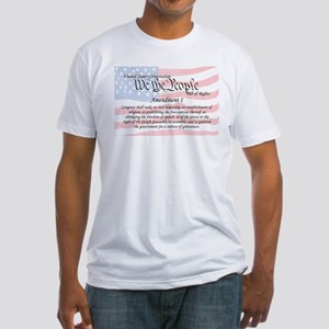 Amendment I and Flag Fitted T-Shirt