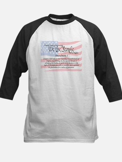 Amendment I and Flag Kids Baseball Jersey