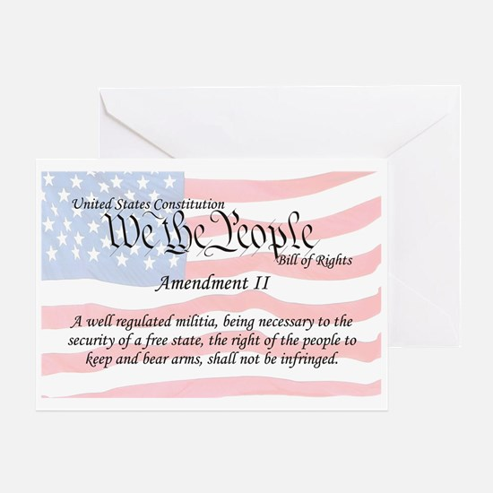 Amendment II and Flag Greeting Card