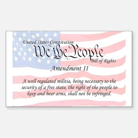 Amendment II and Flag Rectangle Decal