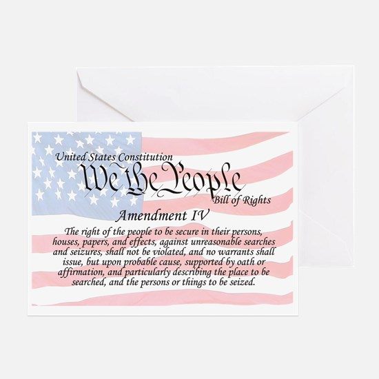 Amendment IV and Flag Greeting Card