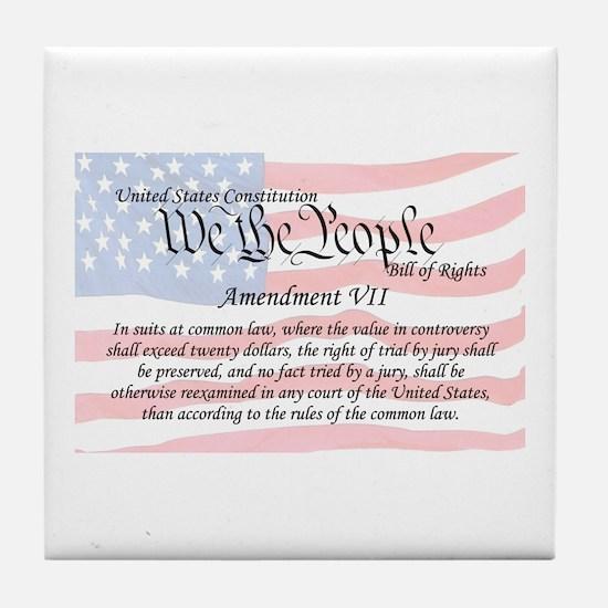 Amendment VII and Flag Tile Coaster