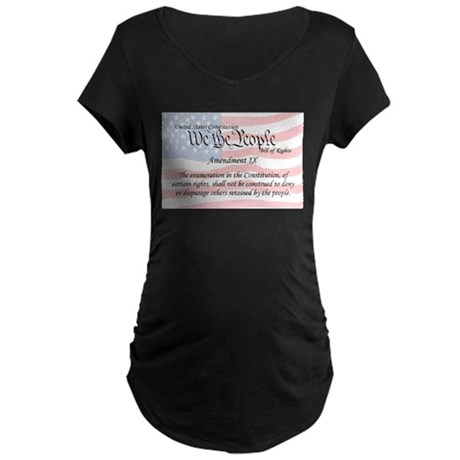 Amendment IX and Flag Maternity Dark T-Shirt
