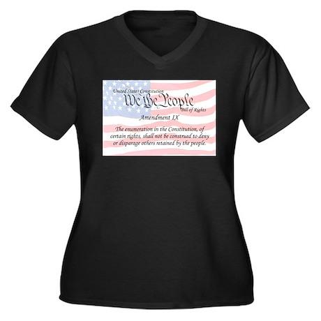 Amendment IX and Flag Women's Plus Size V-Neck Dar