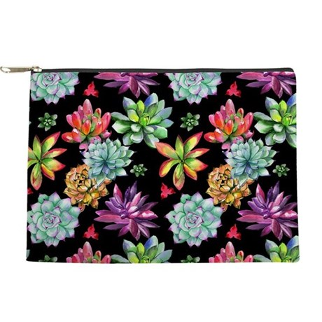 Rainbow Succulents Makeup Bag
