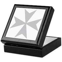 Silver Maltese Cross Keepsake Box